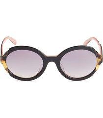 prada women's 53mm round sunglasses - black