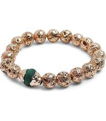 akola women's marengo goldtone, karatasi bead & lava beaded bracelet