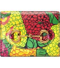 gucci x ken scott floral print card case wallet - yellow