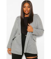 plus wool look button up coat, grey