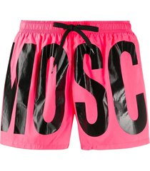 moschino logo print swim shorts - pink