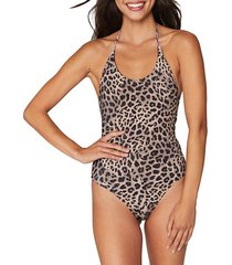 raza one-piece leopard-print tank suit