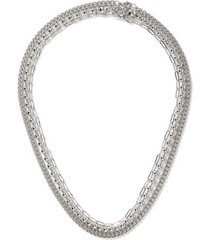 mens silver layered chain necklace*