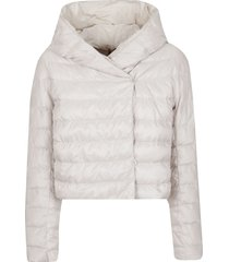 beige technical fabric padded jacket