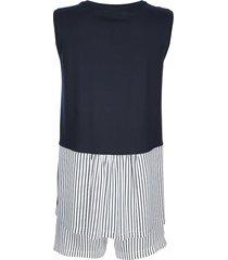 pyjamas ringella marinblå/benvit