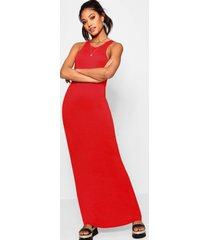basic maxi-jurk met racerfront, rood