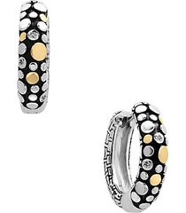 0.02 tcw diamonds 18k yellow goldplated hoop earrings