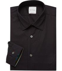 paul smith men's regular-fit solid dress shirt - black - size 15.5