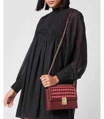 coach women's woven leather hutton shoulder bag - wine