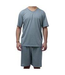 pijama curto conjunto short e camisa sapatofranca cinza