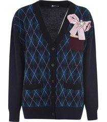 miu miu ribbon applique patterned cardigan