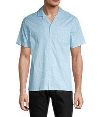 saks fifth avenue men's printed short-sleeve shirt - light mahogany - size xxl