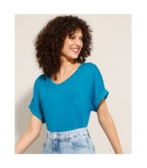 blusa ampla básica decote v manga curta dobrada azul