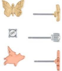rachel rachel roy tri-tone 3-pc. set stud earrings