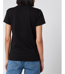 maison kitsuné women's t-shirt handwriting - black - l