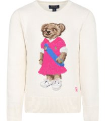 ralph lauren ivory sweater for girl with bear