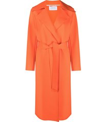 harris wharf london belted mid-length trench - orange