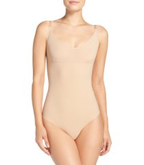 women's commando control bodysuit, size large - beige