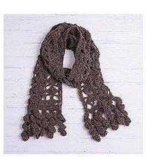 alpaca blend scarf, 'chocolate temptation' (peru)
