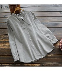 zanzea camisa de blusa de gran tamaño casual de manga larga para mujer camisas de cuello alto camisa de talla grande -negro