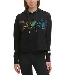 calvin klein performance women's rainbow ombre logo hoodie