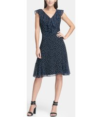 dkny ruffle chiffon polka dot a-line dress