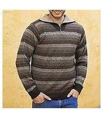 men's 100% alpaca sweater, 'seismic' (peru)