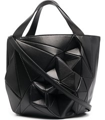 calicanto structured geometric bucket bag - black