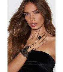 womens take my hand crochet harness bracelet - black
