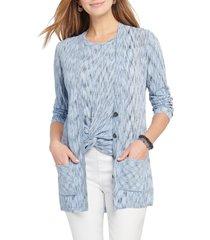 women's nic+zoe mottled stripe cardigan, size small - blue