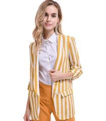 blazer largo rayas bicolor amarillo/blanco nicopoly