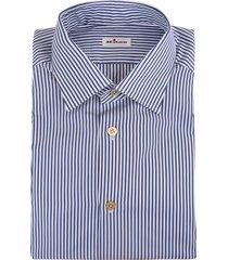 man shirt in white poplin with dark blue thin stripes