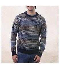 men's 100% alpaca sweater, 'monument' (peru)