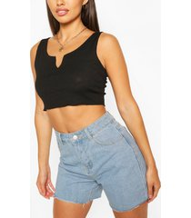 rib notch neck crop top