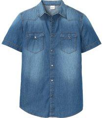 camicia in jeans a maniche corte slim fit (blu) - john baner jeanswear