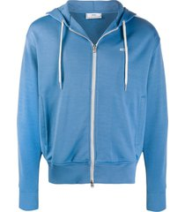 ami embroidered logo hoodie - blue
