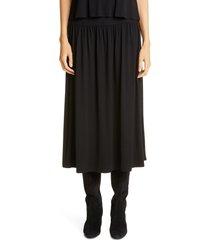 women's eileen fisher fine jersey flare midi skirt, size xx-small - black