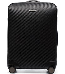 ermenegildo zegna textured four-wheel suitcase - black