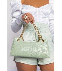 akira minty croc purse