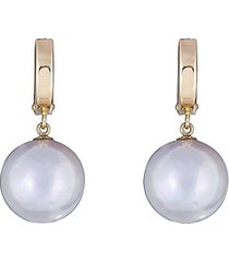 14k yellow gold & 12mm oval freshwater pearl drop earrings