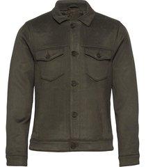 anf mens outerwear jeansjack denimjack groen abercrombie & fitch