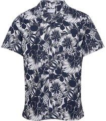 button-front shirt in poplin kortärmad skjorta blå gap