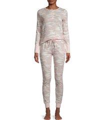 splendid women's 2-piece camo-print pajama set - tonal camo - size l