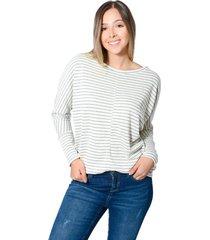 blusa amplia con cortes tela  rib para mujer color siete - beige