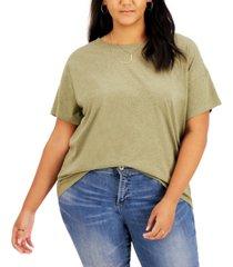 style & co plus size cotton drop-shoulder t-shirt, created for macy's