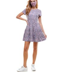 be bop juniors' tie-dyed tiered dress & reversible face mask