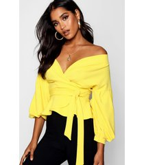 bell sleeve wrap over top, yellow
