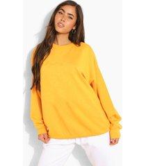 oversized geborduurde woman sweater met tekst, tangerine