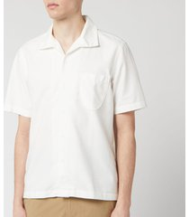 universal works men's open collar oxford polo shirt - ecru - xl