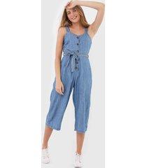 macacão jeans malwee pantacourt azul